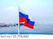 Купить «Russia, Blagoveshchensk, July 2019: Tricolor flag of Russia on the background of the Amur river near the city of Blagoveshchensk», фото № 33774943, снято 14 июля 2019 г. (c) Катерина Белякина / Фотобанк Лори