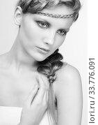 Купить «Black and white portrait in high key tone female with creative hairdo braids», фото № 33776091, снято 30 января 2012 г. (c) Serg Zastavkin / Фотобанк Лори