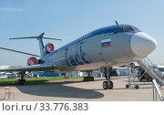 Купить «Российский самолет летающая лаборатория Туполев Ту-154М Careless c номером 85317 на авиасалоне МАКС-2019 в Жуковском, Россия, вид справа», фото № 33776383, снято 29 августа 2019 г. (c) Малышев Андрей / Фотобанк Лори