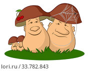 Купить «Family of Cartoon Mushrooms Ceps on Green Grass, Parents, Optimistic Mother and Pessimistic Father and Children, Cheerful and Sad.», фото № 33782843, снято 30 мая 2020 г. (c) easy Fotostock / Фотобанк Лори