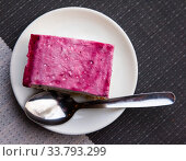 Cake with raspberry glaze on white plate. Стоковое фото, фотограф Яков Филимонов / Фотобанк Лори