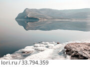 Russia, Samara Region, Zhiguli Mountains, reflection of the Molodetsky Kurgan Mountain on the Volga. Стоковое фото, фотограф Акиньшин Владимир / Фотобанк Лори