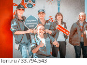Купить «Russia, Samara, June 2017: girls volunteers, in branded clothes, for the 2018 FIFA World Cup on a sunny summer day. Text in Russian: I want to be a volunteer.», фото № 33794543, снято 25 мая 2017 г. (c) Акиньшин Владимир / Фотобанк Лори