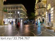 Купить «Улица Низами с ночной иллюминацией. Баку. Азербайджан», фото № 33794767, снято 22 сентября 2019 г. (c) Евгений Ткачёв / Фотобанк Лори