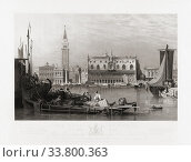 The Doge's Palace and St. Mark's Square, Venice, Italy in the early 19th century. From an etching by Henry Le Keux, after a work by Samuel Prout. (2019 год). Редакционное фото, фотограф Classic Vision / age Fotostock / Фотобанк Лори