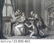 Купить «The Dukes of Northumberland and Suffolk praying Lady Jane Grey to accept the crown. From a print dated 1786 by Francesco Bartolozzi after a work by Giovanni Battista Cipriani.», фото № 33800463, снято 7 июля 2019 г. (c) age Fotostock / Фотобанк Лори
