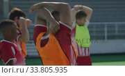 Купить «Hockey players stretching before a game», видеоролик № 33805935, снято 18 ноября 2019 г. (c) Wavebreak Media / Фотобанк Лори