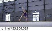 Купить «Teenage female gymnast performing at sports hall», видеоролик № 33806035, снято 17 сентября 2019 г. (c) Wavebreak Media / Фотобанк Лори