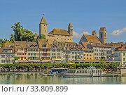 Купить «Rapperswil mit Schiffsanlegestelle, Burg, St. Johannes und Altstadt, Kanton St. Gallen», фото № 33809899, снято 27 мая 2020 г. (c) age Fotostock / Фотобанк Лори