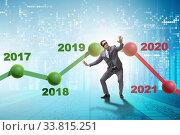 Купить «Businessman in market crash concept», фото № 33815251, снято 6 июня 2020 г. (c) Elnur / Фотобанк Лори