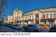 Купить «Old historical building of the New Bazaar in Odessa, Ukraine», фото № 33816015, снято 28 апреля 2020 г. (c) Sergii Zarev / Фотобанк Лори