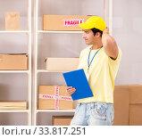 Купить «Handsome contractor working in box delivery relocation service», фото № 33817251, снято 24 июля 2018 г. (c) Elnur / Фотобанк Лори