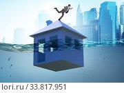 Купить «Mortgage repayment failure concept with man», фото № 33817951, снято 10 июля 2020 г. (c) Elnur / Фотобанк Лори