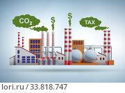 Купить «Carbon tax concept with industrial plant», фото № 33818747, снято 27 мая 2020 г. (c) Elnur / Фотобанк Лори