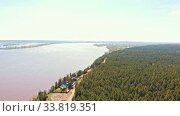 Купить «Green coniferous forest and river», видеоролик № 33819351, снято 2 июня 2020 г. (c) Константин Шишкин / Фотобанк Лори