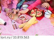 Купить «Picnic in the park. Sausages and sandwiches with sausage on a plaid», фото № 33819563, снято 20 мая 2020 г. (c) Марина Володько / Фотобанк Лори