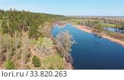 Купить «View of green forest and small river», видеоролик № 33820263, снято 2 июня 2020 г. (c) Константин Шишкин / Фотобанк Лори
