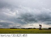 Купить «Oil and Gas Pump Jack Prairie Landscape Saskatchewan Canada», фото № 33821451, снято 1 июня 2020 г. (c) age Fotostock / Фотобанк Лори