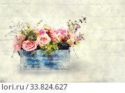 Купить «Beautiful bouquet of roses in wooden box. Stylization in watercolor drawing», фото № 33824627, снято 5 июня 2020 г. (c) easy Fotostock / Фотобанк Лори