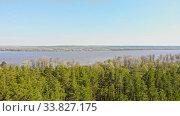 Купить «A view of huge thicket of green forest and river on the background», видеоролик № 33827175, снято 2 июня 2020 г. (c) Константин Шишкин / Фотобанк Лори