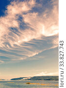 Beautiful cirrus clouds on a blue sky background. Volga river and Zhiguli mountains. Стоковое фото, фотограф Акиньшин Владимир / Фотобанк Лори