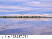 Evening on the river during spring flood. Стоковое фото, фотограф Евгений Харитонов / Фотобанк Лори