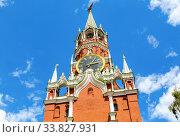 Купить «Spasskaya tower of the Moscow Kremlin», фото № 33827931, снято 9 июля 2019 г. (c) FotograFF / Фотобанк Лори