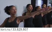 Купить «Multi-ethnic group of fit female modern dancers practicing a dance routine», видеоролик № 33829807, снято 4 декабря 2019 г. (c) Wavebreak Media / Фотобанк Лори
