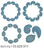 frames for your creativity from doodle elements arranged in a circle. Стоковая иллюстрация, иллюстратор Дмитрий Бачтуб / Фотобанк Лори
