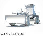 Купить «3d render: White Motor Grader Road Construction Industrial Machine», фото № 33830083, снято 12 июля 2020 г. (c) age Fotostock / Фотобанк Лори