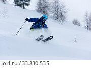 Купить «Extreme freeride skier skiing on fresh powder snow in forest downhill at winter season», фото № 33830535, снято 30 мая 2020 г. (c) age Fotostock / Фотобанк Лори