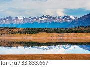 Купить «Beautiful mountain landscapes in Patagonia. Mountains lake in Argentina, South America.», фото № 33833667, снято 4 июля 2020 г. (c) easy Fotostock / Фотобанк Лори