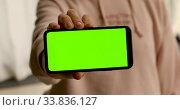 Купить «Woman shows smartphone with green screen», видеоролик № 33836127, снято 23 мая 2020 г. (c) Ekaterina Demidova / Фотобанк Лори