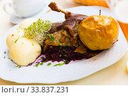 Duck with braised cabbage blue and yeast dumplings. Стоковое фото, фотограф Яков Филимонов / Фотобанк Лори