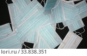 Купить «Slow motion flying medical face masks falling on black background. Close-up view of fall lot surgical respirator bandage for human face», видеоролик № 33838351, снято 12 мая 2020 г. (c) А. А. Пирагис / Фотобанк Лори