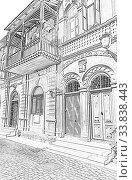 Купить «Balcony of an old house in oriental style. Baku. Azerbaijan», иллюстрация № 33838443 (c) Евгений Ткачёв / Фотобанк Лори