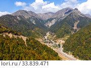 Купить «View of the Caucasus Mountains in sunny day», фото № 33839471, снято 25 сентября 2019 г. (c) Евгений Ткачёв / Фотобанк Лори