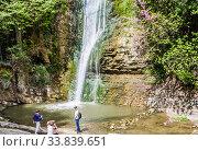 Landscape of waterfall in botanical garden of Tbilisi. Стоковое фото, фотограф Николай Коржов / Фотобанк Лори