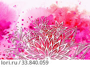 Купить «Calligraphic Vintage Pattern, Symbolic Flowers and Leafs, Abstract Floral Outline Ornament, White Contours on Colorful Hand-Draw Watercolor Painting Background», фото № 33840059, снято 29 мая 2020 г. (c) age Fotostock / Фотобанк Лори