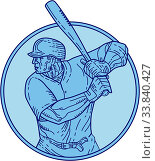 Mono line style illustration of an american baseball player batter hitter holding bat batting viewed from the side set inside circle on isolated background. Стоковое фото, фотограф Zoonar.com/patrimonio designs / easy Fotostock / Фотобанк Лори