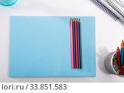 Stationery on white background with copyspace. Стоковое фото, фотограф Яков Филимонов / Фотобанк Лори