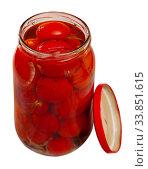 Купить «Tomatoes marinated in jars», фото № 33851615, снято 2 июля 2020 г. (c) Яков Филимонов / Фотобанк Лори