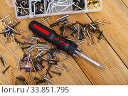Купить «Multifunctional screwdriver among various self-tapping screws», фото № 33851795, снято 13 июля 2020 г. (c) Яков Филимонов / Фотобанк Лори