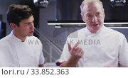 Купить «Professional Caucasian male chef in a restaurant kitchen tasting food with a trainee chef », видеоролик № 33852363, снято 5 декабря 2019 г. (c) Wavebreak Media / Фотобанк Лори