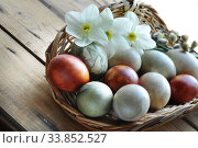 Купить «Basket with organic painted easter eggs and flowers», фото № 33852527, снято 18 апреля 2020 г. (c) Короленко Елена / Фотобанк Лори