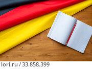 Купить «Top view of the flag of Germany», фото № 33858399, снято 21 ноября 2018 г. (c) Pavel Biryukov / Фотобанк Лори