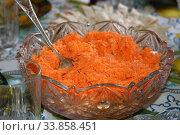 Vegetable salad from carrots. Стоковое фото, фотограф Марина Володько / Фотобанк Лори