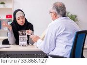 Купить «Arab woman visiting experienced doctor», фото № 33868127, снято 15 ноября 2019 г. (c) Elnur / Фотобанк Лори