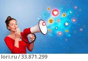 Купить «Person holding megaphone and yelling with social media concept», фото № 33871299, снято 30 мая 2020 г. (c) easy Fotostock / Фотобанк Лори