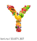 Купить «Letter Y is made of different fruits and berries, fruit font isolated on white background with clipping path, healthy alphabet», фото № 33871307, снято 30 мая 2020 г. (c) easy Fotostock / Фотобанк Лори